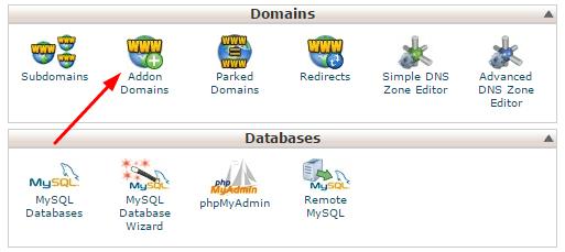 Addon domains selection