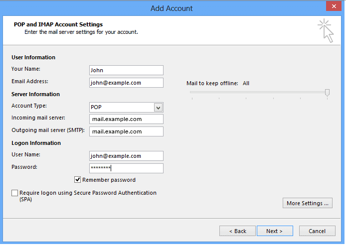 Email settings for outlook 2013