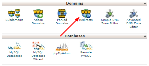 Cpanel redirect option