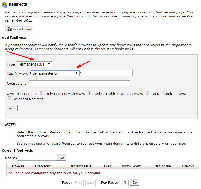 Redirect fields at cpanel